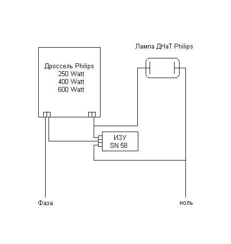 Схема подключения ламп ДНаТ.